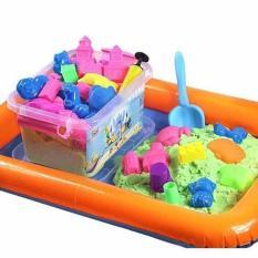 Bộ đồ chơi Cát động lực vi sinh tạo hình LÂU ĐÀI gồm: Hộp nhựa + 0,8kg Cát + Bể hơi + Đủ khuôn