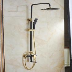 Bộ sen cây tắm đứng nóng lạnh nhập khẩu AV914 ( Đen vàng ) sơn tĩnh điện cao cấp – Tiêu chuẩn Châu Âu
