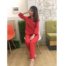 Bộ mặc nhà quần dài tay lỡ cổ tròn yếm vuông bông tuyết nền đỏ