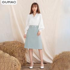 Chân váy nữ VA1024 GUMAC thiết kế dằn chỉ phối khoen