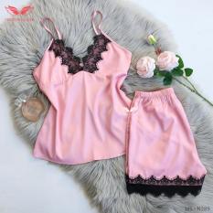 Đầm ngủ váy ngủ nữ hai dây tím phối ren đen gợi cảm,lụa cao cấp VNGO N289