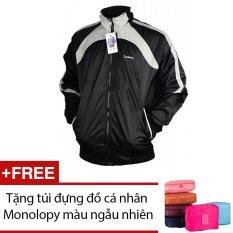 Áo khoác thể thao Dori D001 (Đen phối xám) + Tặng túi đựng đồ cá nhân Monolopy màu ngẫu nhiên