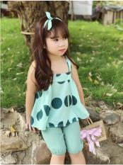 Set quần áo bé gái chấm bi ngọc