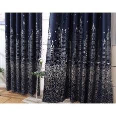 Rèm vải trang trí (có sẵn khoen) – HỌA TIẾT THÀNH PHỐ XANH ĐEN PR015