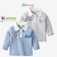 Áo thun dài tay cotton AZUNA WELLKIDS cho bé trai hàng nhập khẩu
