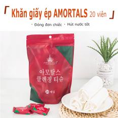 Khăn Nén Vải Hình Viên Kẹo Hàn Quốc Tiện Dụng (Túi 20 Viên)