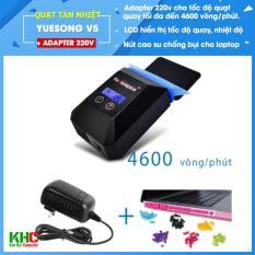 Quạt hút tản nhiệt Laptop Yuesong V5 (Gồm Adapter + dây nguồn USB 5V kèm theo) – Có LCD hiển thị nhiệt độ và tốc độ – Kim Hải Computer
