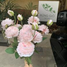 1 cành Hoa mẫu đơn cành lớn 3 bông nụ cao, hoa giả nhân tạo 1 cành
