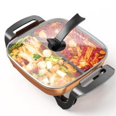 Nồi lẩu điện 2 ngăn chống dính , Nồi lẩu nướng đa năng 2 in 1, Bếp lẩu điện cao cấp thiết kế 2 ngăn riêng biệt giúp bạn và gia đình có thể ăn 2 món nẩu cùng một lúc, tiện lợi, dễ dàng sử dụng, an toàn