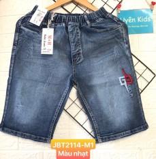 (Video thật)Quần short jean vải co giãn, mẫu cào sướt nhẹ thêu chữ dễ phối đồ cho bé trai 28-55kg