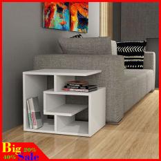 Tủ kê đầu giường, trang trí phòng khách chất liệu gỗ cao cấp, màu trắng tinh