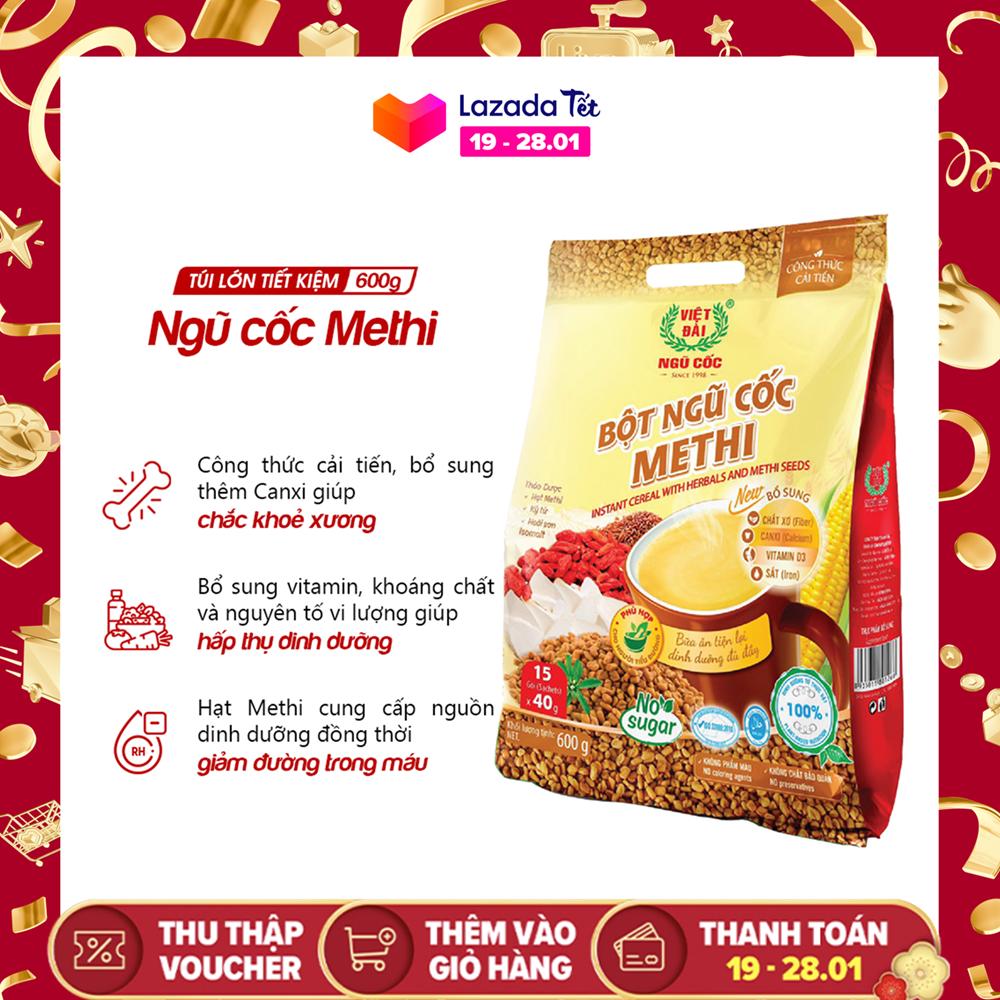 Bột ngũ cốc Methi Việt Đài 600gr (công thức cải tiến)