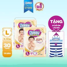 [Tặng 01 gối ôm lâu đài] Bộ 2 Tã/bỉm dán Bobby Extra Soft Dry L30 – 30 miếng (9-13kg) – Cam kết HSD trên 10 tháng – Giới hạn 2 sản phẩm/khách hàng
