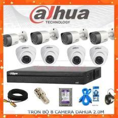 [Nhập ELJAN12 giảm 10%, tối đa 200k, đơn từ 99k]Trọn bộ 8 mắt camera dahua 2.0 Full HD 1080p Ổ cứng 500G lưu trữ