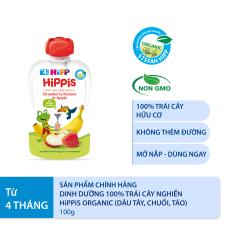 Thức ăn dặm Dinh dưỡng 100% trái cây nghiền hữu cơ HiPPiS Organic (Dâu tây, Chuối, Táo) 100g