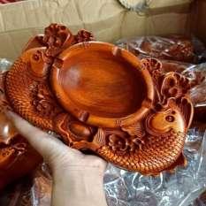 Gạt tàn chạm song ngư gỗ hương nguyên khối