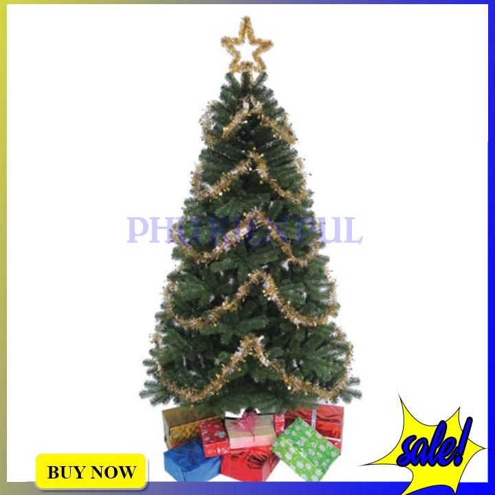 Cây Thông Noel 3m Đầu Tròn 10″ Chân Sắt Chắc Chắn Trang Trí Giáng Sinh Tặng Kèm 1 Ngôi Sao Đỉnh + 8 Dây Kim Tuyến