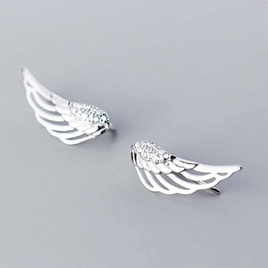 Bông tai hình cánh chim bạc thật S925 Italy cho nữ B2429