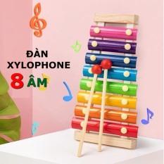 Đồ chơi trẻ em đàn xylophone 8 âm bằng gỗ phát triển trí não và cảm quan cho bé gái và trai từ 1 tuổi trở lên.