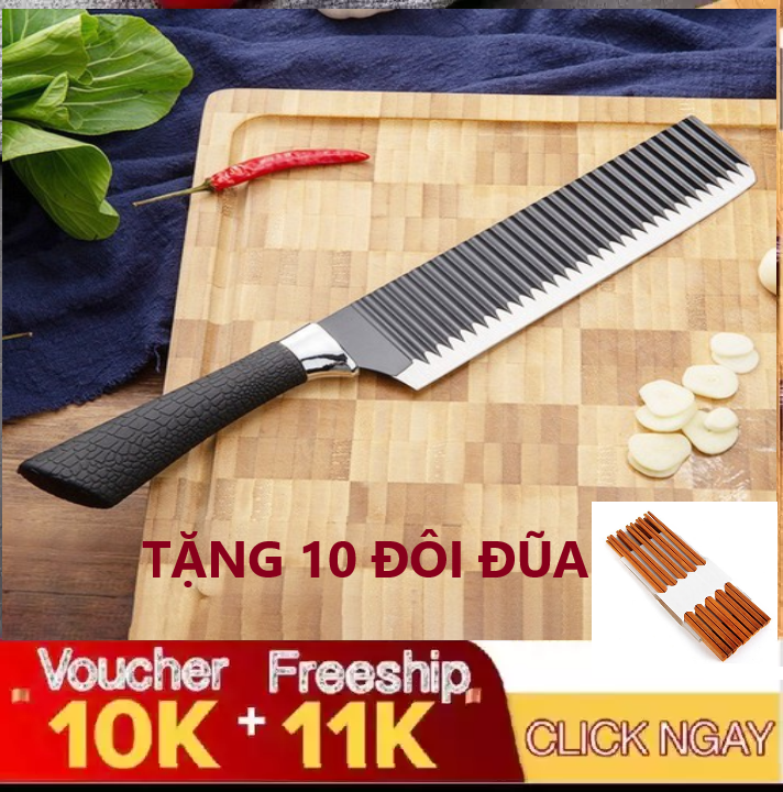 [ MUA DAO TẶNG 10 ĐŨA ] Dao bếp lưỡi gợn sóng Nhật Bản k01 loại 1 siêu bén cán bọc cao su cao cấp rất êm tay