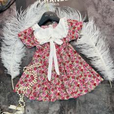 💥💥 Váy bé gái💥💥 Váy hoa hồng cổ vuông nơ buộc cực xinh cho bé gái