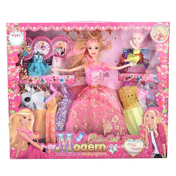 Bộ sưu tập thời trang búp bê Barbie & em gái nhỏ đạp xe
