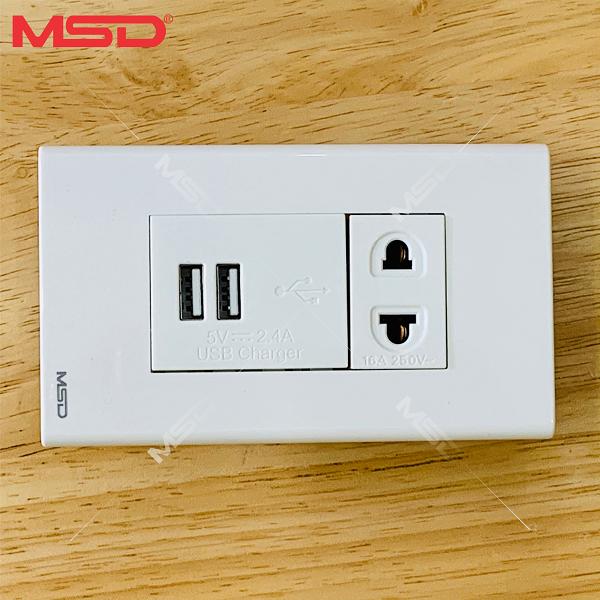 SẠC ĐIỆN THOẠI 2 USB ÂM TƯỜNG 2.4A/5VDC – Ổ CẮM ĐƠN 16A