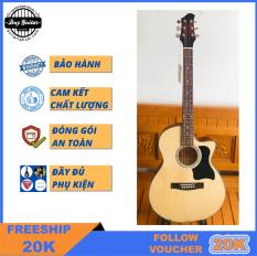 Đàn guitar acoustic dáng khuyết DVE70 Duy Guitar Store đàn guitar acoustic giá rẻ tốt cho sinh viên đệm hát Âm thanh vang sáng Cần đàn thẳng Action thấp bấm êm tay