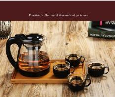 Bộ bình lọc trà thủy tinh tặng kèm 4 ly – Lọc inox chống gỉ chịu nhiệt cao cấp – Bình lọc trà có lọc inox lọc gọn gàng trà sạch thơm – Bình lọc trà sang trọng giá siêu hời. Tặng kèm 4 ly.