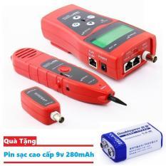 Máy test cáp mạng đa năng Noyafa NF-308 (Đỏ) Tặng kèm Pin sạc 9v 280mAh chất lượng cao