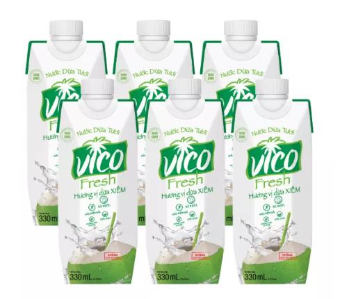 Combo Nước dừa Xiêm Vico Fresh 10 hộp 330ml