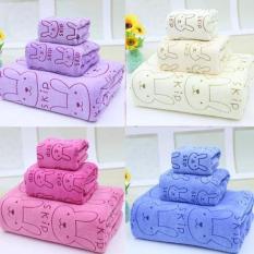 Combo 3 khăn tắm bông thấm hút tốt Thailand ( 70*1m4, 35*70cm, 25*50cm )