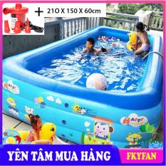 [KÈM BƠM ĐIỆN- LOẠI TỐT 2 ĐÁY CHỐNG TRƠN TRƯỢT] Bể bơi bơm hơi 3 tầng hình chữ nhật dài 1m8 cỡ lớn cho trẻ em và người lớn chơi cùng, bể phao tắm đại dương họa tiết cute cho cả gia đình