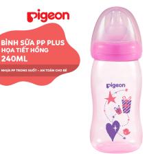 Bình sữa cổ rộng PP Plus họa tiết hồng Pigeon 240ml (M)