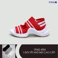 [Tặng tất] Sandal nữ cao cấp độn đế Kingo Fantasy màu đỏ – KS08D046 ( Đỏ)