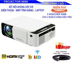 Máy chiếu KẾT NỐI KHÔNG DÂY T5 đồng bộ cho điện thoại, máy tính bảng, Laptop. Đèn LED Máy Chiếu Cho Video 1080P. Thích hợp cho việc chơi game, xem phim, giải trí có thể thay thế tivi và có tặng kèm dây HDMI dài 1,5m + dây Audio dài 1,5m