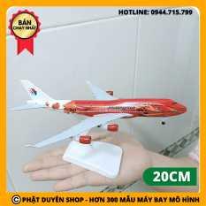 (Video) Mô hình máy bay Boeing B747 Malaysia Air (20cm có bánh xe) – Đỏ – Kèm đế trưng bày đẹp