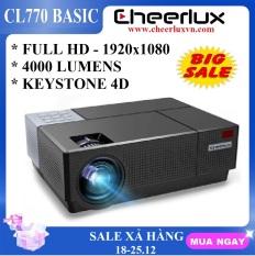 [Nhập ELJAN11 giảm 10%, tối đa 200k, đơn từ 99k]Máy chiếu FULL HD Cheerlux CL770 projector 1920×1080 đèn Led 175W 4000 Lumens sáng rỏ chức năng Zoom điều chỉnh vuông hình 4 chiều phù hợp xem phim tại gia cafe bóng đá phòng họp.