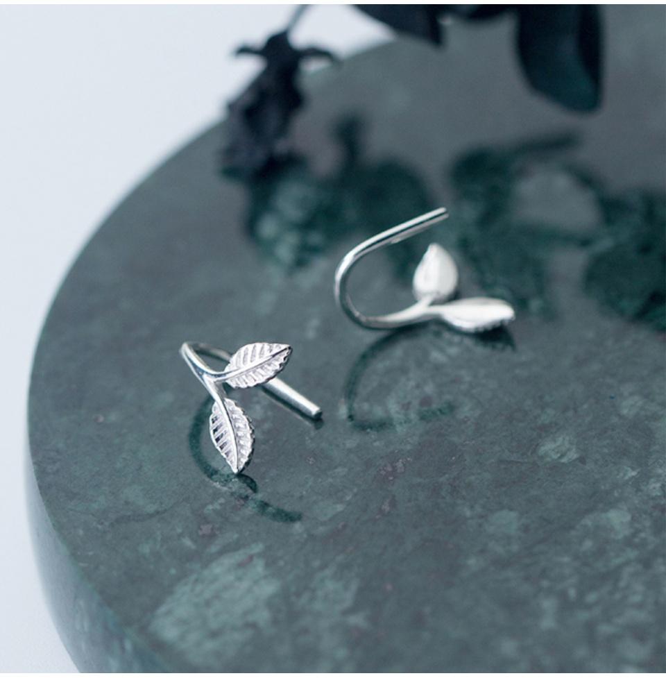 Bông Tai Bạc Nữ | Bông Tai Bạc ITALY S925 | Bông Tai Bạc Nhành Lá Đôi – B2543 – Bảo Ngọc Jewelry