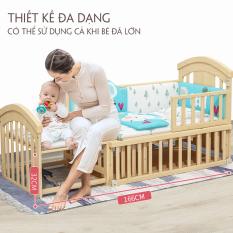 Cũi kéo dài cho bé, kéo dài tới 1m66. Giường cũi cho trẻ kèm đệm sơ dừa- HONA100