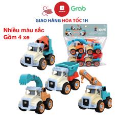 Đồ chơi mô hình xe công trình xây dựng lắp ráp cho bé gồm 4 xe nhiều màu sắc kích thích thị giác của bé, thích hợp làm quà tặng hoặc trưng bày