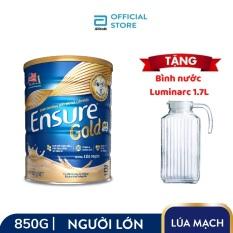 Lon Ensure Gold hương Lúa mạch 850g Tặng Bình nước Luminarc cao cấp 1.7L