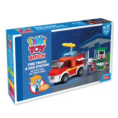 JUNO – Đồ chơi lắp ráp xe cứu hỏa và trạm xăng TINITOY (136 pcs)