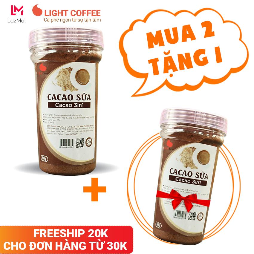 [MUA 2 TẶNG 1] Bột cacao sữa 3in1 , cacao sữa hòa tan cung cấp năng lượng thiết yếu , tốt cho sức khỏe Light Cacao – Hũ 90gr
