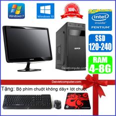 Bộ Case máy tính để bàn CPU Dual core E7-8xxx / G2010 Ram 4GB / HDD 250GB-500GB / SSD 120GB-240GB + Màn hình + [QÙA TẶNG: Bộ phím chuột không dây, bàn di chuột] – LDV