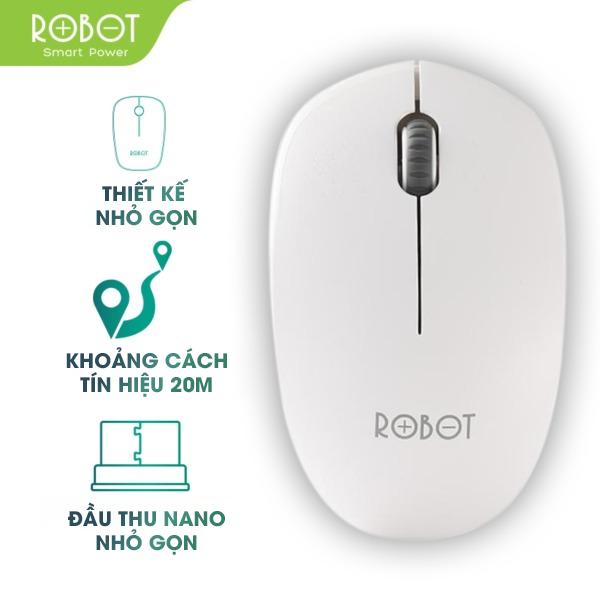 [Bảo Hành 12 Tháng] Chuột Quang không dây 2.4GHz ROBOT M210 Khoảng cách tín hiệu 20m công nghệ cảm biến quang học 1600DPI – Hàng chính hãng ( bảo hành 1 đổi 1)