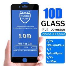 Kính cường lực full màn hình 10D cho iphone 6/6s/6Plus/6SPlus/7/8/7plus/8plus/X/Xs/Xsmax 2 màu Đen và Trắng siêu bền