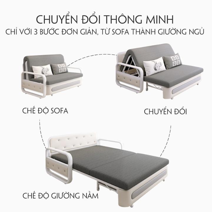 Giường sofa, sofa đa năng, ghế sofa phòng khách thiết kế thông minh có ngăn kéo chứa đồ siêu rộng chất liệu thân thiện môi trường kích thước 1m5x1m9 tặng kèm hai gối cao cấp