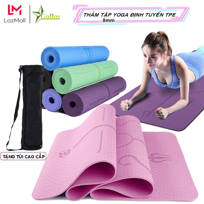 Thảm Tập Yoga, Gym Định Tuyến Gobos TPE 2 Lớp Tặng Kèm Túi Đựng - Thảm Chính Hãng Gobos