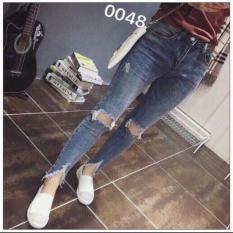 Quần jean nữ nhạt rách gối lưng cao co dãn – MS370